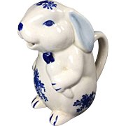 Vintage Creamer Rabbit Pitcher Blue White