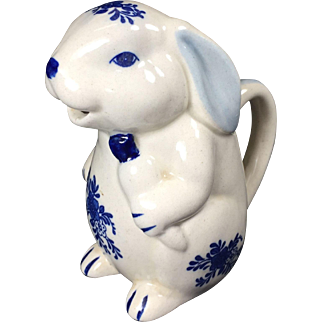 Vintage Blue & White Rabbit Pitcher Creamer