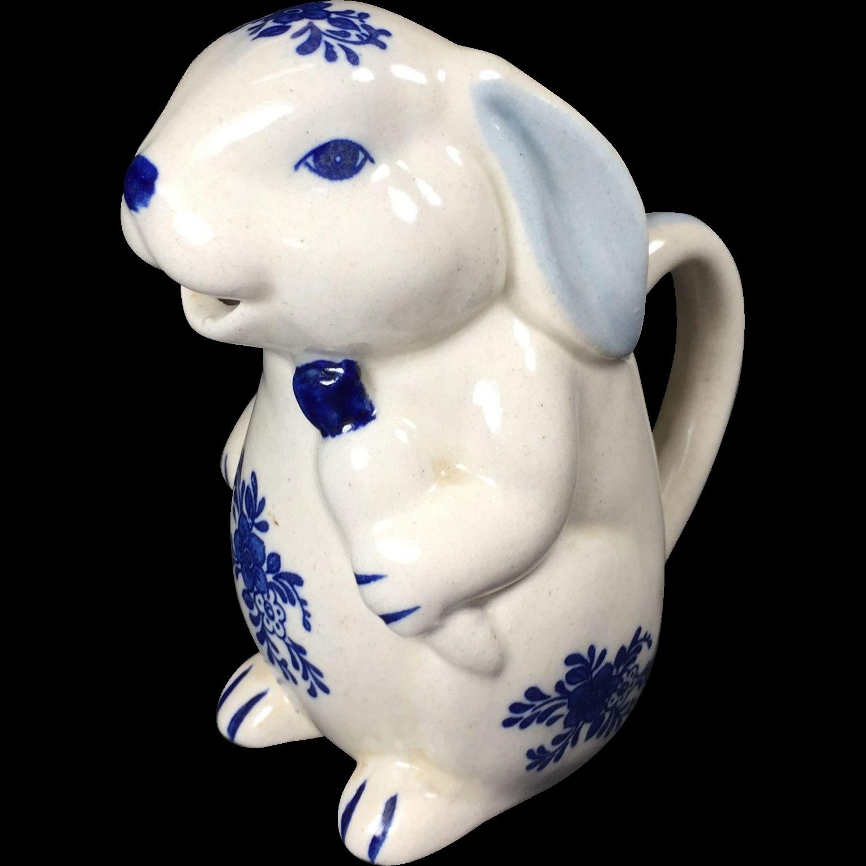 Vintage Blue & White Rabbit Pitcher Creamer