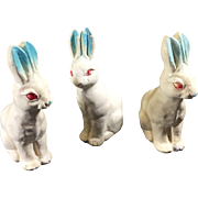 Vintage Shabby Chic Chalkware Rabbits in Pastel Colors