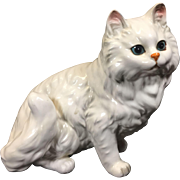 Vintage White Persian Ceramic Cat Figurine