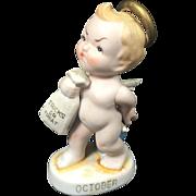 Porcelain Lefton October Cherub Kewpie Angel w / Trick or Treat Bag