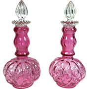 Pair Fenton Cranberry or Ruby Overlay Diamond Optic Melon Glass Perfume Decanter Bottles