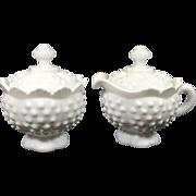 Fenton Hobnail Milk Glass Pedestal Style Lidded Creamer & Sugar