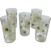 Turquoise & Tan Vintage Atomic Sunburst 8 Ounce Beverage Glasses