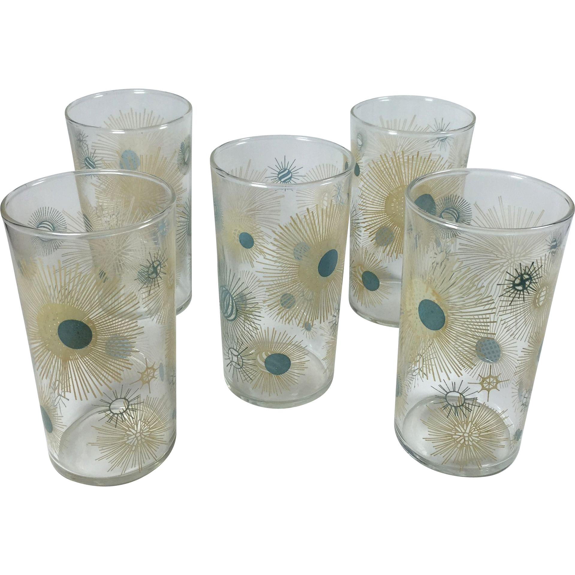 Vintage Beverage Glasses Atomic Sunburst Beverage Glasses Turquoise Tan