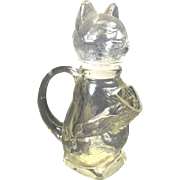 Vintage Glass Cat Bottle Candy Container