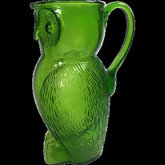 Mid-Century Large Vintage Kanawha Green Glass Figural Owl Pitcher 32 oz