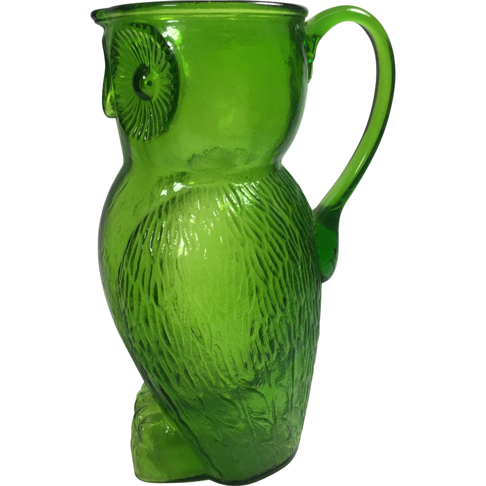 Mid-Century Large Vintage Kanawha Green Glass Figural Owl Pitcher 32 oz