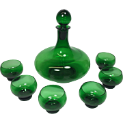 Vintage Green Glass Liquor Decanter Cordial Shot Glasses MCM