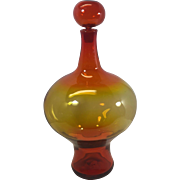 Vintage Blenko Art Glass Bottle Decanter Mid-Century Amberina HUGE