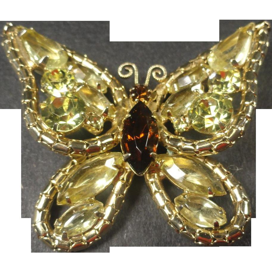 Dimensional Citrine & Amber Rhinestone Butterfly Brooch
