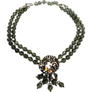 Elegant Double Strand Smoky Crystal Necklace w Rose Montee's Floral Crescent Design