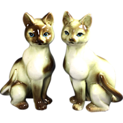 Vintage Siamese Cat Figurines Ceramic Pair