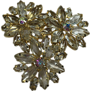 Floral Rhinestone Brooch w Clear Glass Navettes & Aurora Borealis Centers