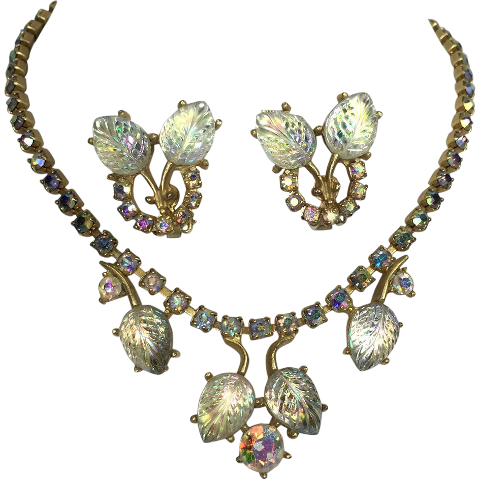 Vintage Rhinestone Necklace Earrings Set Aurora Borealis Molded Art Glass