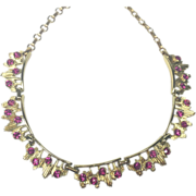 Vintage Coro Atomic Pink Rhinestone Necklace Mid-Century