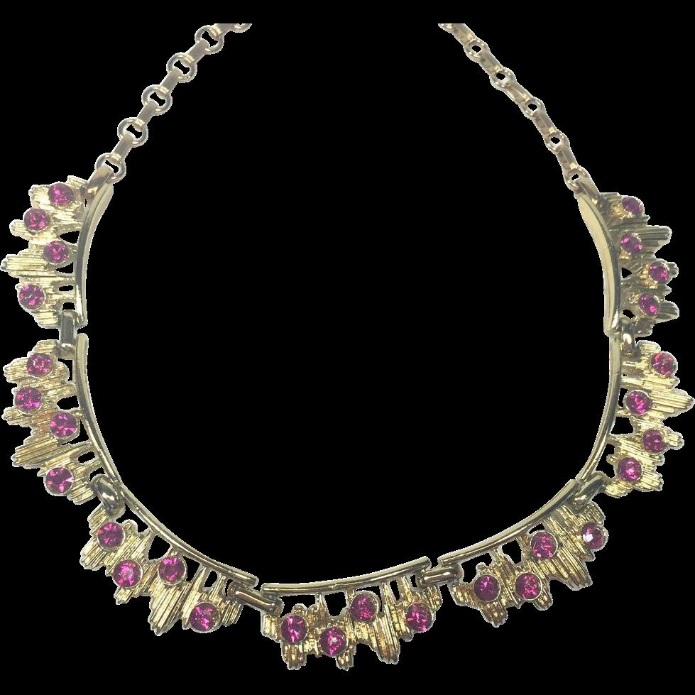 Coro Vintage Modern Electro Pink Rhinestone Necklace