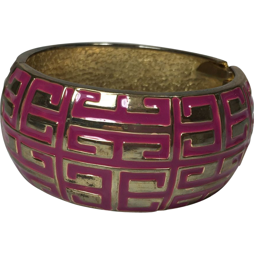 Huge Pink & Gold Hinged Cuff Bracelet w Grecian Key Design