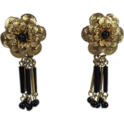 Vintage Gold Black Floral Earrings w Bugle Bead Drops