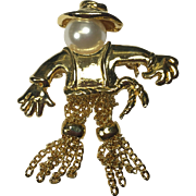 Vintage Scarecrow Pin w Dangling Chain Legs