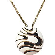 Vintage Retro JJ Round Wave Pendant Necklace in White Enamel & Gold