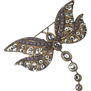 Gorgeous Rhinestone Dragonfly w Swinging Tail