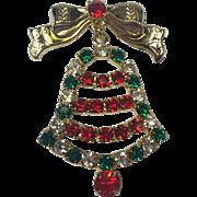 Vintage Rhinestone Swinging Christmas Bell Pin