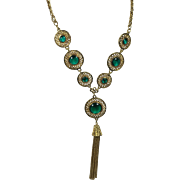 Egyptian Revival Green Glass Cab Necklace w Swinging Chain Fringe