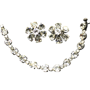 Vintage Weiss Heart Shaped Rhinestone Diamente Bracelet & Earrings