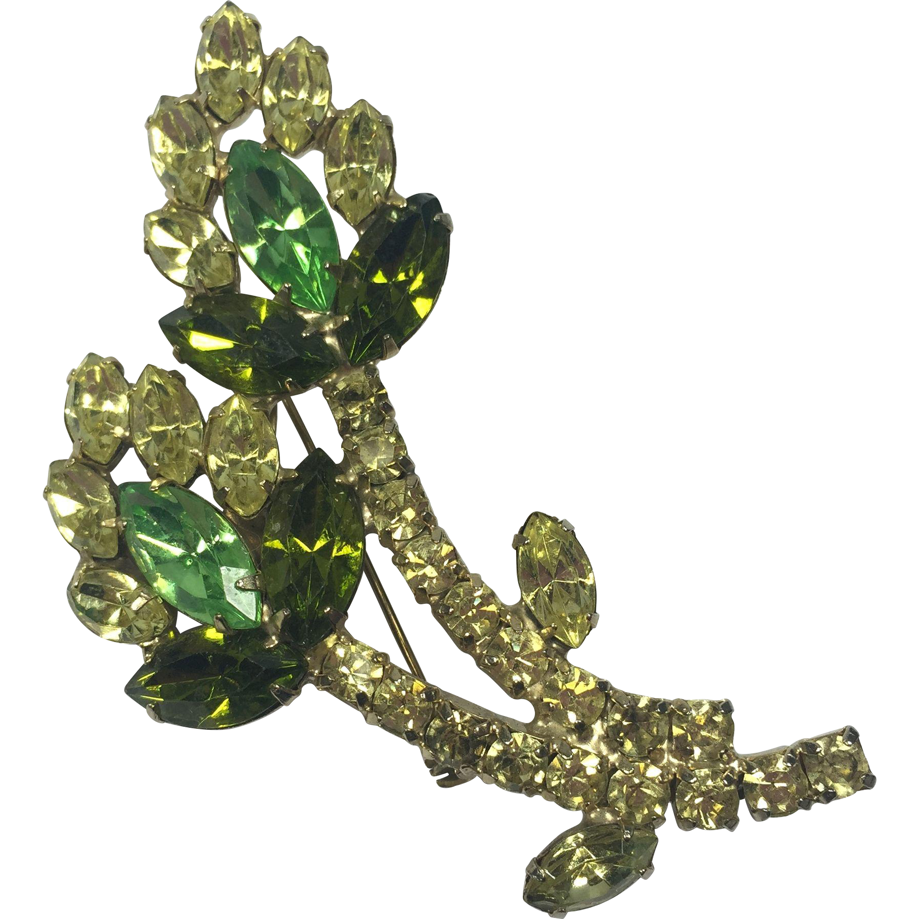Mod Yellow & Green Floral Rhinestone Brooch