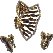 Vintage Rhinestone Butterfly Brooch Earrings Juliana