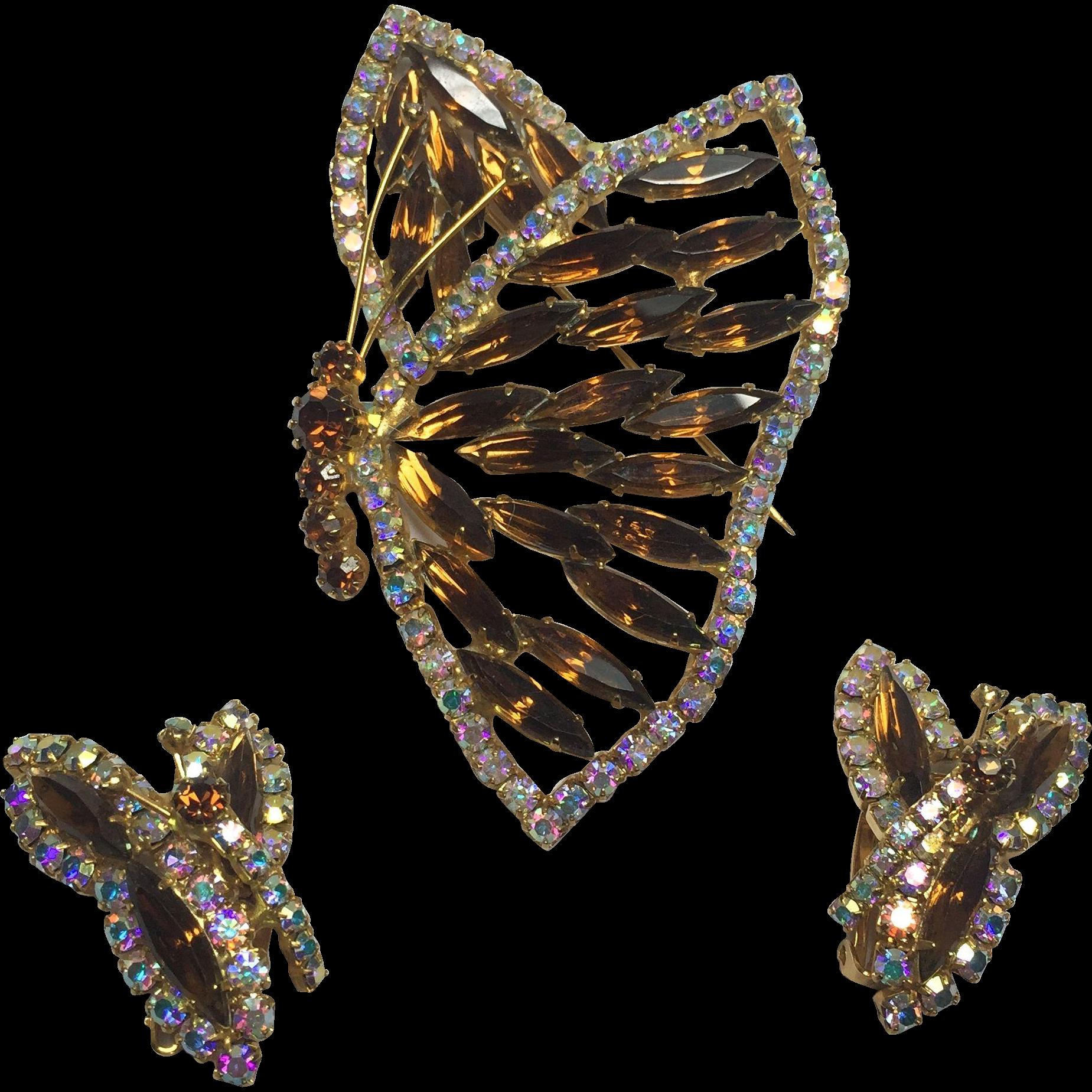 Large Shimmering Sideways Juliana Root Beer Rhinestone Butterfly Brooch & Earrings