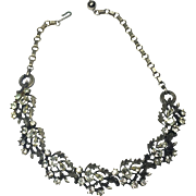 Stunning Antiqued Setting Rhinestone Necklace Marked Lisner