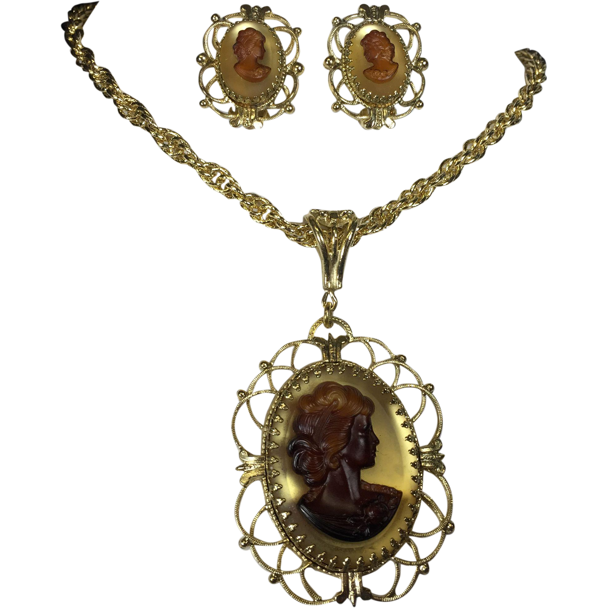 Bold Whiting & Davis Glass Cameo Pendant Necklace & Earrings