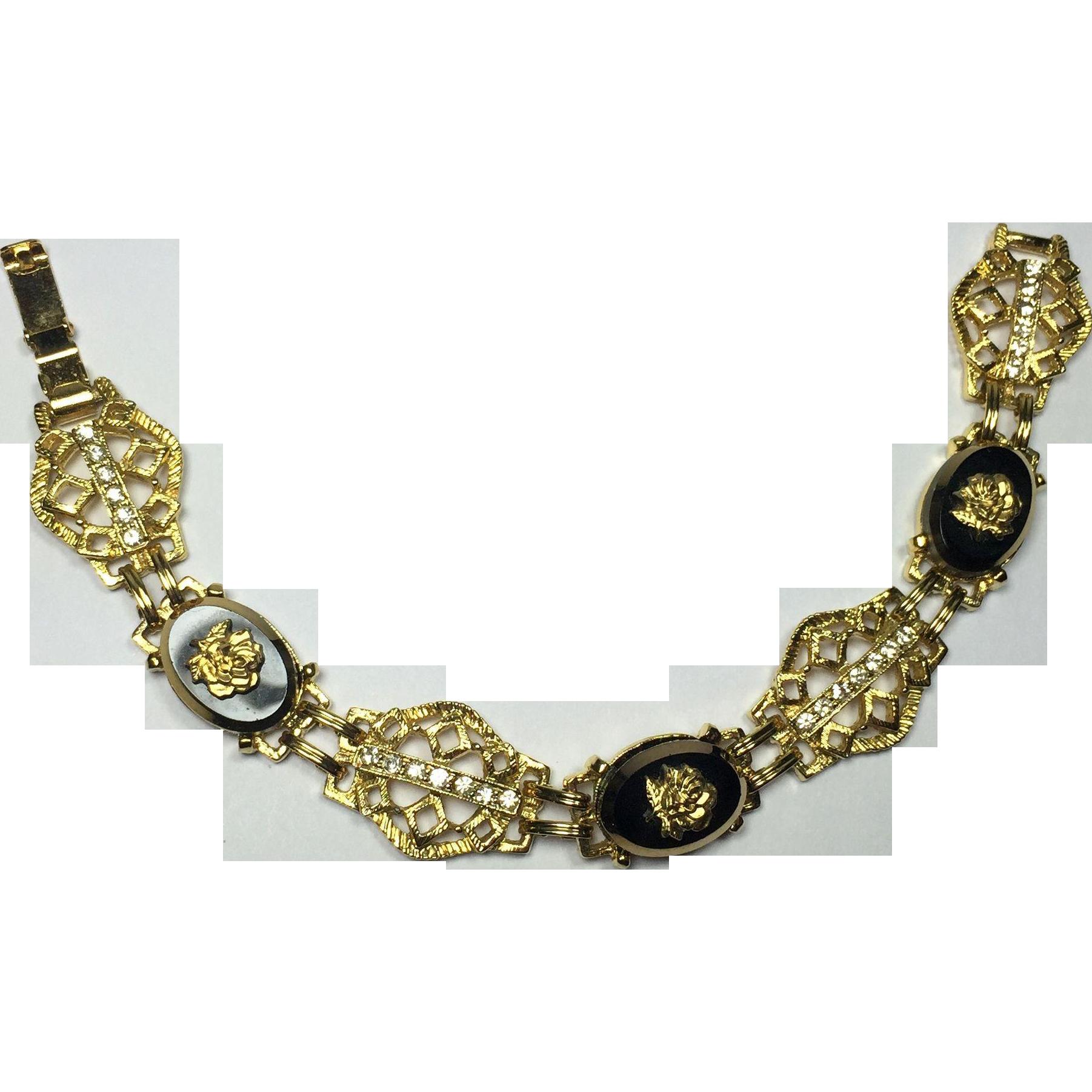 Golden Rose on Black Glass Rhinestone Bracelet