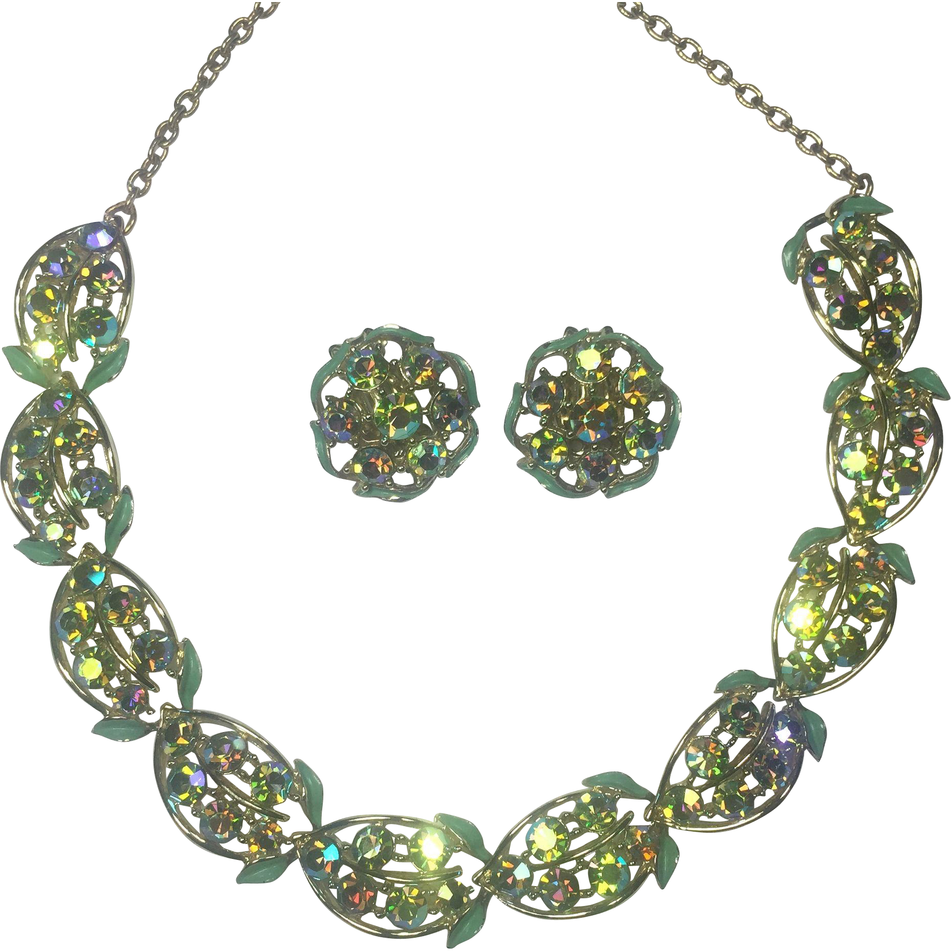 Sparkling Mint Green & Golden Necklace w Earrings