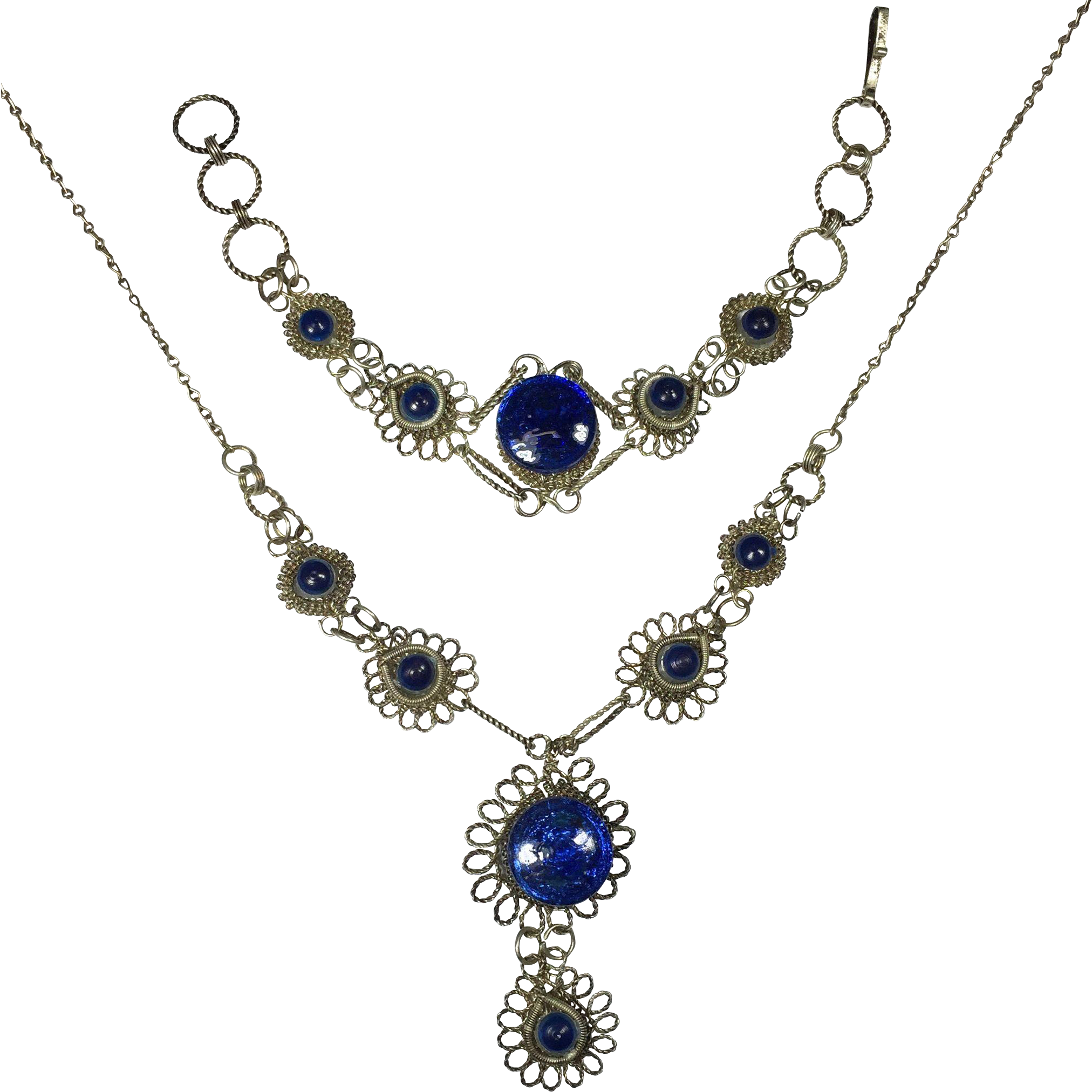 Vintage Spun Silver Cobalt Blue Glass Necklace & Bracelet