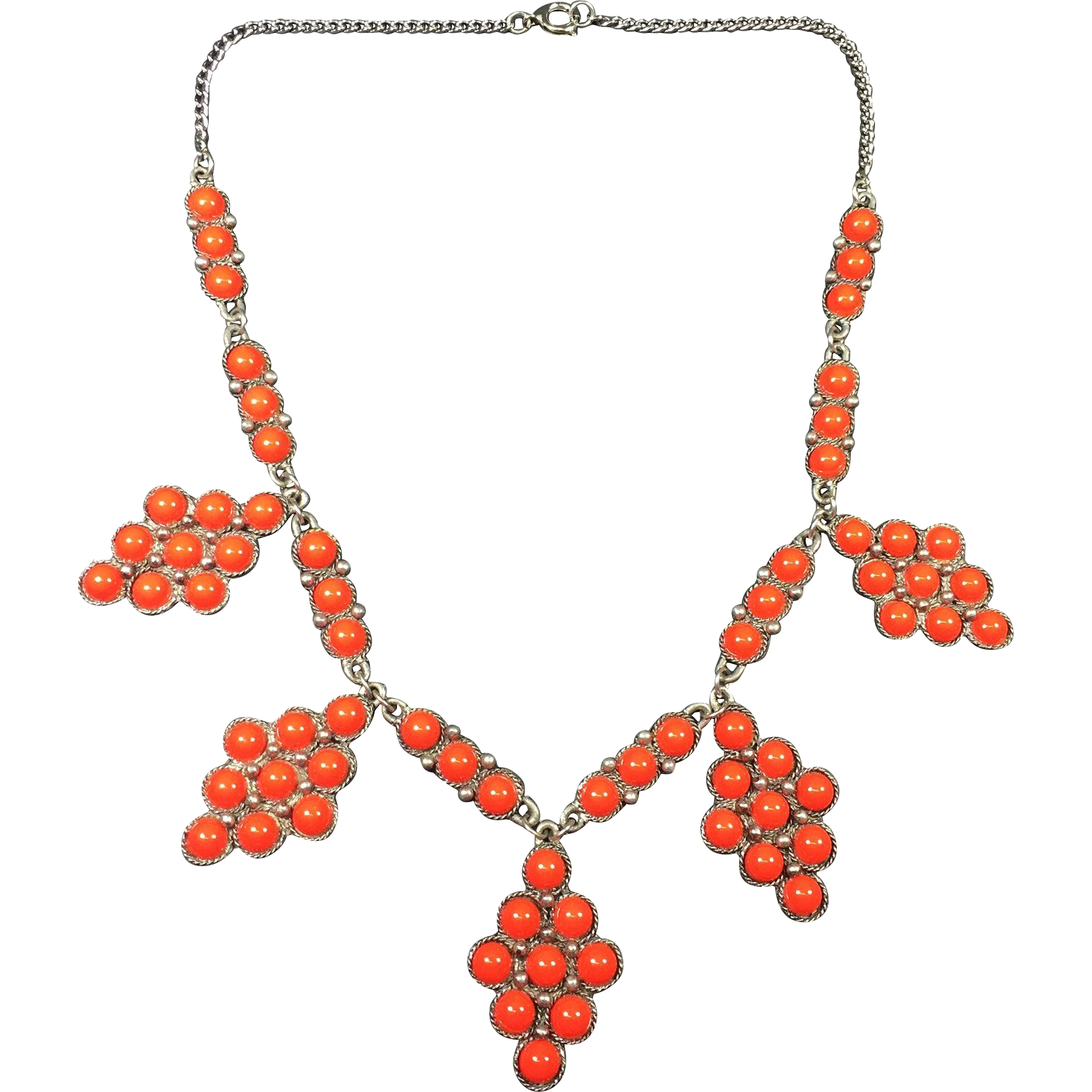 Vintage Red Faux Coral Southwest / Native American Style Necklace