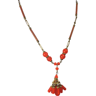Czech Necklace w Bright Orange Drops & Tubular Chain