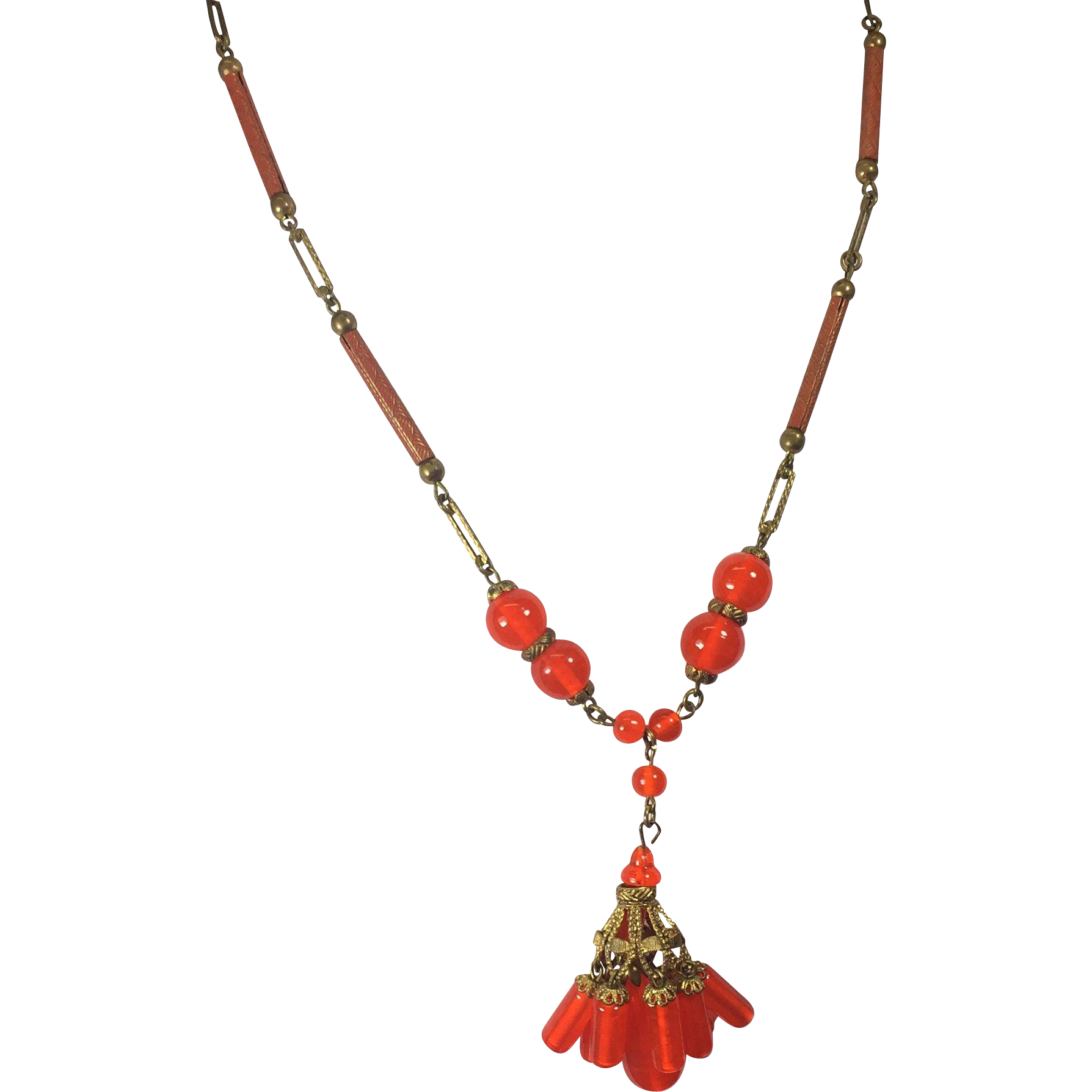 Czech Necklace w Bright Orange Drops & Tubular Chain