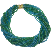 Shimmering Sea Blue & Green Glass Bead Torsado Necklace by Joan Rivers