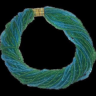 Shimmering Sea Blue & Green Glass Bead Torsado Necklace by Joan Rivers