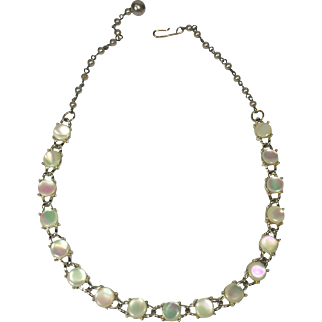 Simply Elegant Mother of Pearl Studded Necklace w Faux Pearl Chain