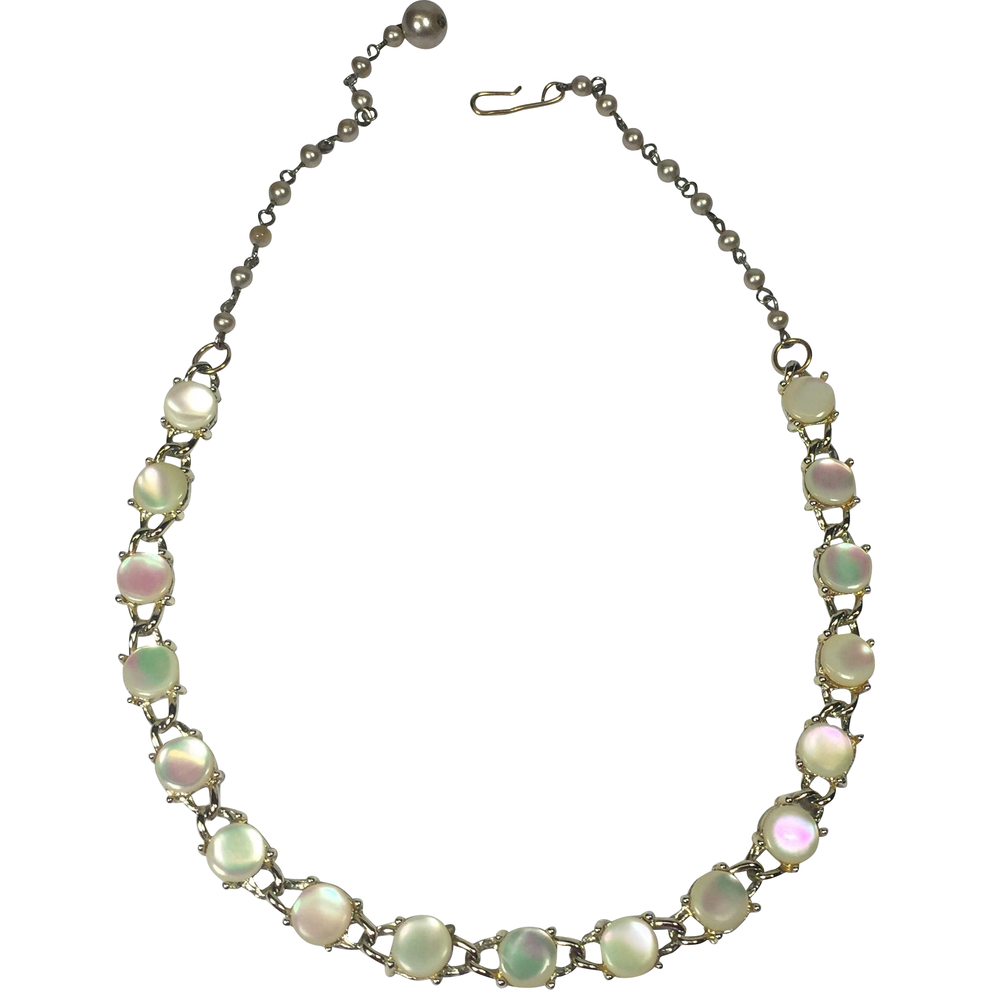 Vintage Mother of Pearl Necklace w Faux Pearl Chain