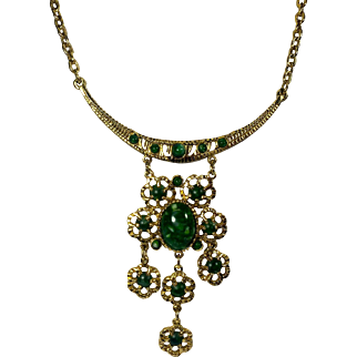 Egyptian Revival Choker Necklace with Floral Drops