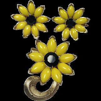 Black Eyed Susan Floral Brooch & Earrings