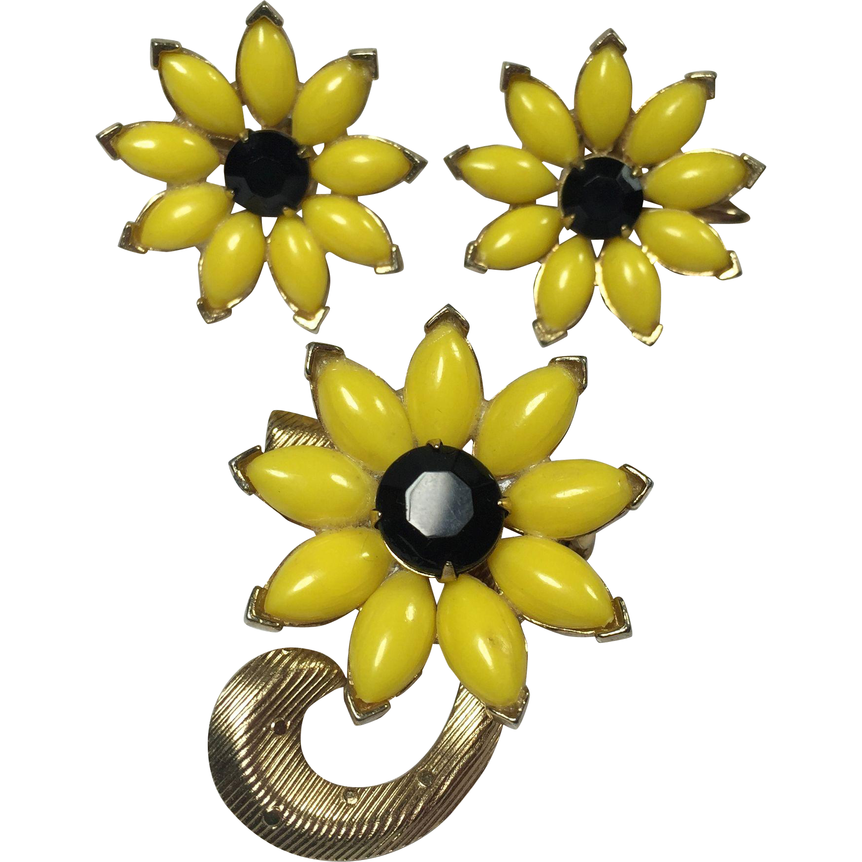 Black Eyed Susan Floral Brooch & Earrings