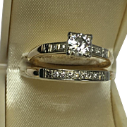 1940's Late Art Deco Style Diamond Wedding Ring Set