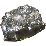 Bold Whiting & Davis Repousse Renaissance Silver Hinged Cuff Bracelet